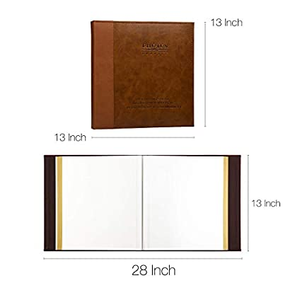 Nuoweike Self Adhesive Stick Photo Album with Magnetic Pages, Large Leather Family Photo Albums with Sticky Page ?Hand Made DIY Albums Holds 3x5 4x6 5x7 6x8 8x10 (Brown)