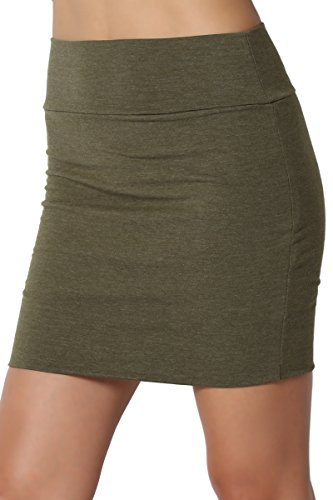 - TheMogan Junior's Stretch Cotton Jersey Lined Bodycon Tube Mini Skirt Heather Green S