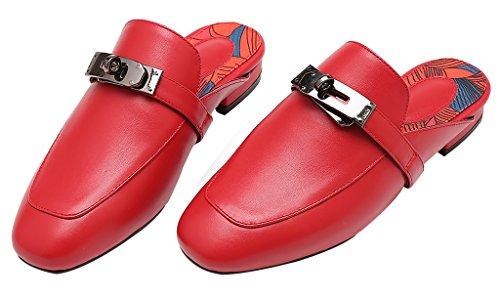 Calaier Mujer Ca Bloquear 1.5CM Cuero Ponerse Zuecos Zapatos Rojo