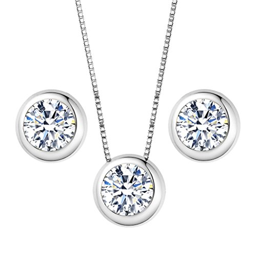 EleQueen 925 Sterling Silver 0.7 Carat Solitaire Round CZ Bridal Necklace Earrings Jewelry - Earrings Mom Set