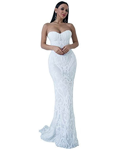Miss ord Sexy Bra Strapless Sequin Wedding Evening Party Maxi Dress (Large, White)