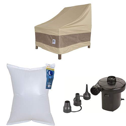 Duck Covers Elegant Patio Chair Cover, 29-Inch with Duck Dome Airbag, 32''L x 24''W and Duck Dome Airbags Electric Air Pump