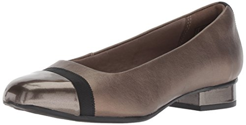 CLARKS Women's Juliet Monte Pump, Pewter Leather/Synthetic, 075 W US