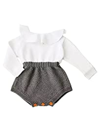Baby Girls Romper Knitted Ruffle Long Sleeve Jumpsuit Baby Kids Girl Romper
