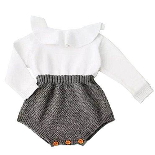 (Urkutoba Baby Girls Romper Knitted Ruffle Long Sleeve Jumpsuit Baby Kids Girl Romper Autumn Winter Casual Clothing (6-12 Months,)