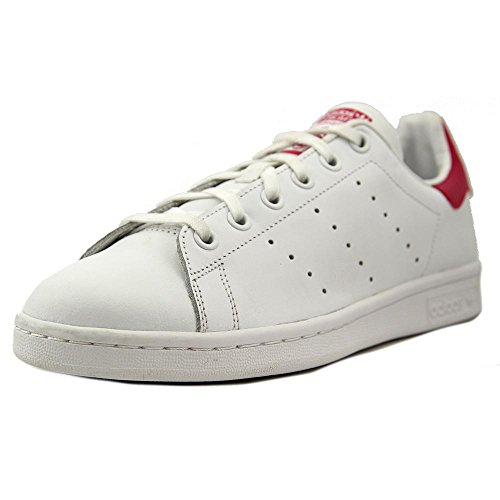 Pink And White Shoes (adidas Originals Girls' Stan Smith J Shoe, White/White/Bold Pink, 6.5 M US Big Kid)
