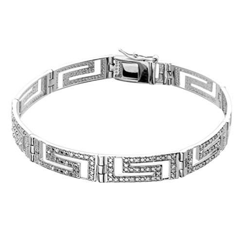 - JewelExclusive Sterling Silver .25 CTTW Diamond 7.5in Greek Key Link Bracelet
