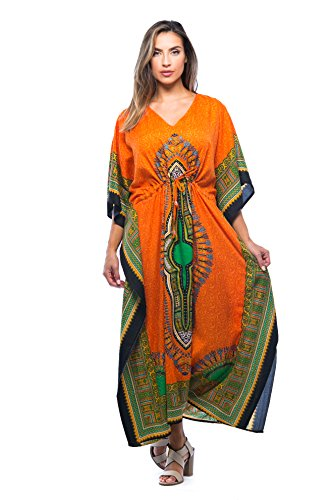 Riviera Sun 21754-ORG-L-XL Long Dashiki Caftan/Caftans for Women Orange (Best African Attire Dresses)