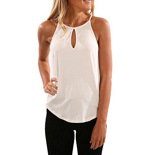 (ODGear Women's Summer Plus Size Sleeveless Bandage Tank Tops Casual Wrinkled Blouse Cami New Black (L, White 06))