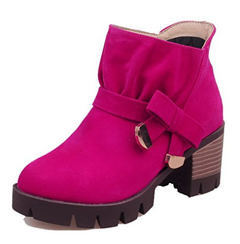 AgooLar Women's Blend Materials Solid Pull-On Round-Toe Kitten-Heels Boots Rosered t7Zj2iqx