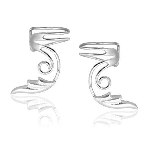 WithLoveSilver 925 Sterling Silver Wire Ear Cuff Earcuffs with Angel Wings Earrings