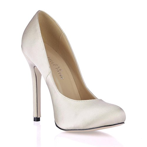Heels High Spring Best Heel 12CM Beige Pointed Autumn Rubber 4U Shoes Toe Sole Stiletto Satin Women's qwqE1St