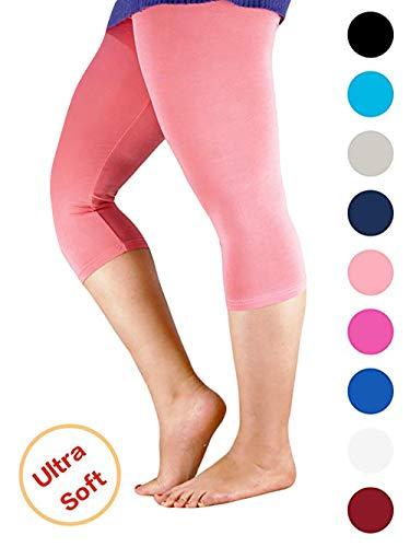 Basic Pink Leggings - Century Star Women's Modal Plus Size Basic Solid Capri Leggings Pink US L-US XL(Tag 4XL)