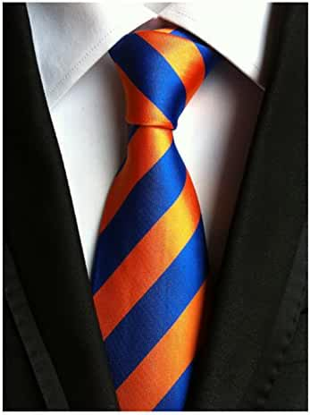 MENDENG Large Striped Orange Gold Blue 100% Silk Business Casual Men Tie Necktie