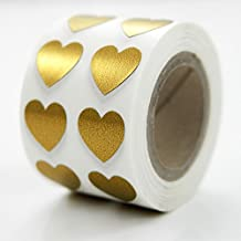 Premium Heart Sticker Roll By TotalPack - 1000 Heart-Shaped 1/2 Inch Self-Adhesive Stickers Pack - Great For Teacher Supplies, Scrapbooking, Party Favors, And More! - Metallic Gold Color, 1 Roll