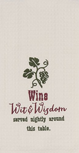Kay Dee Designs Wit & Wisdom Wine Embroidered Waffle - Designs Wine Dee Kay