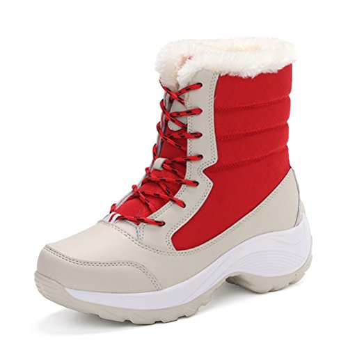 Siempre Pretty Mujeres Winter Warm Fur Forrado Grueso Mid Calf Snow Bota Shoes Rojo