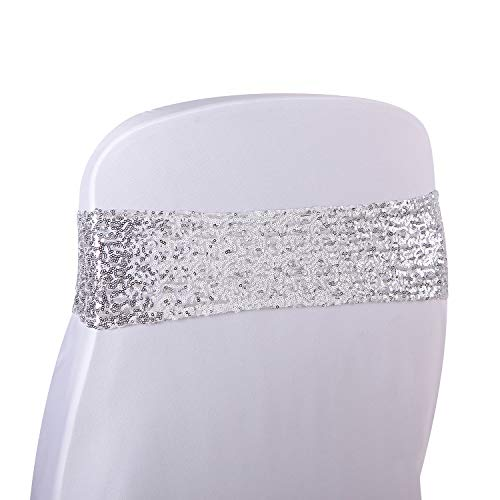 Kivvo 50pcs Chair Sashes Silver Bands for Wedding Chair, Shining Sequin Chair Bows for Party Decoration (Silver)