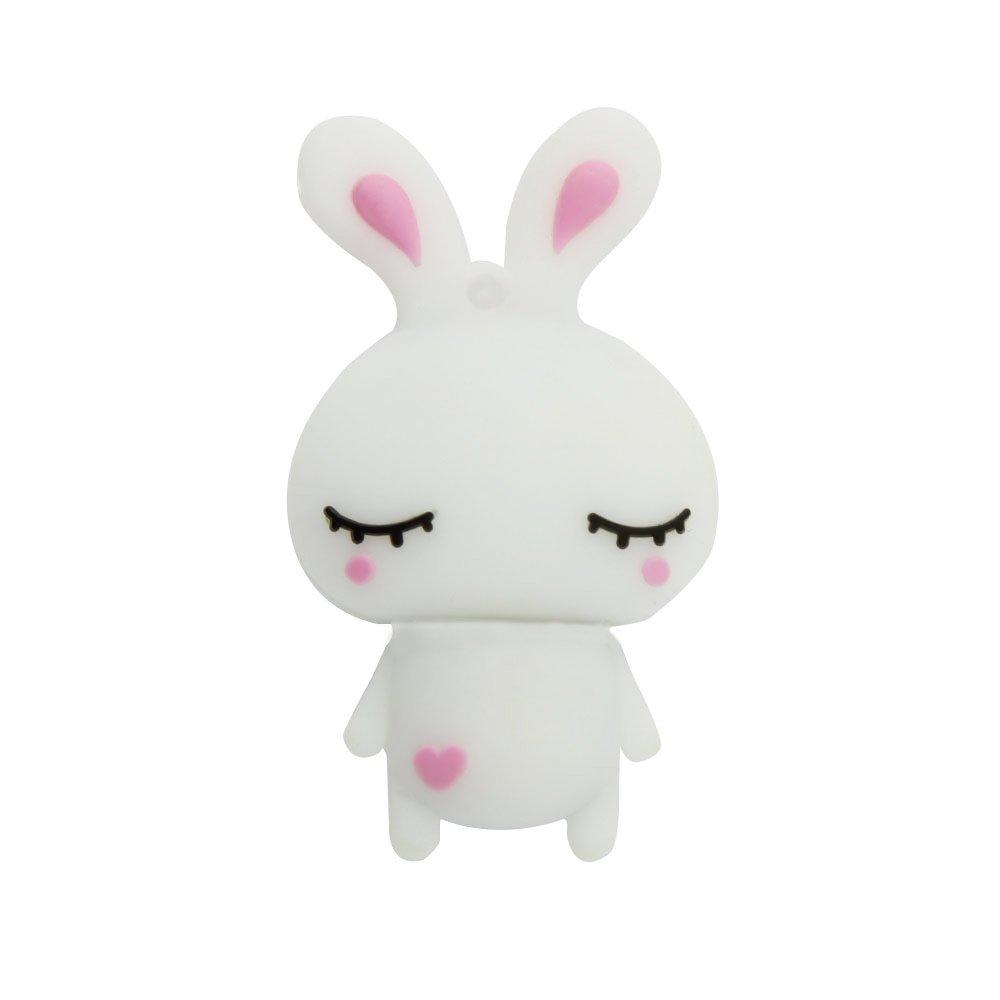 CHUYI Cute and Novelty Animal Series Rabbit Shape Design 32GB USB 2.0 Flash Drive Pen Drive Memory Stick Cartoon Thumb Drive Lovely Jump Drive Data Storage U Disk Gift (White)