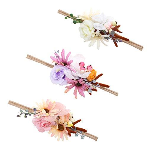 Baby Girl Floral Headbands Set - 3pcs Flower Crown Newborn Toddler Hair Accessories by mligril, Reindeer Antlers, -