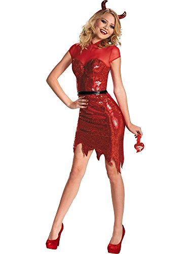 Disguise Women's Glam Sequin Devil Deluxe Costume, Red, Small (4-6)]()