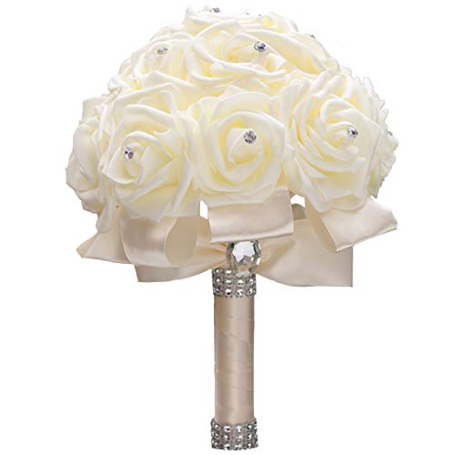 (WIFELAI-A Ivory Cream Bouquet for Bride Bridesmaids with Diamond Soft Ribbons Artificial PE Rose Bridal Holding Flowers for Wedding, Party and)
