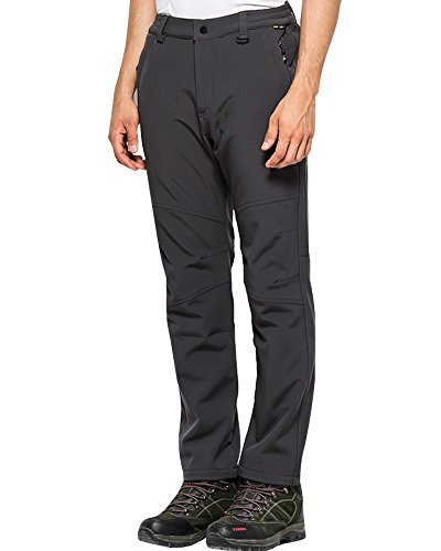 Toomett Men's Fleece Lined Soft Shell Pants Insulated Water and Wind Resistant,M5022 Grey US 33