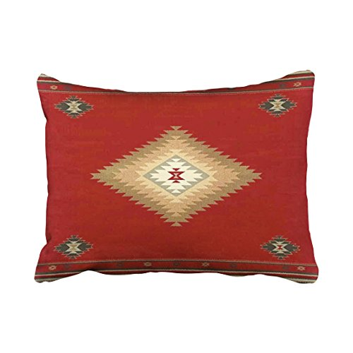 Emvency Decorative Throw Pillow Cover Standard Size 20x26 Inches Southwest Western Tribal Red Fabric Print Pillowcase With Hidden Zipper Decor Fashion Cushion Gift For Home Sofa Bedroom Couch Car