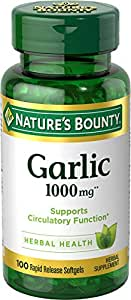 Nature's Bounty Garlic 1000 mg, 100 Odorless Softgels (Pack of 3)