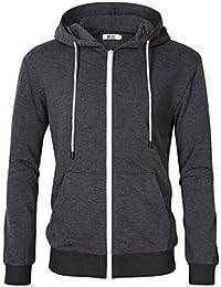 Men's Casual Fit Long Sleeve Lightweight Zip Up Pullover Hoodie Sweatshirt With Kanga Pocket