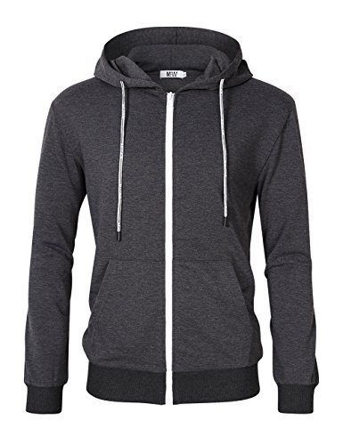 MrWonder Men's Casual Fit Long Sleeve Lightweight Zip Up Pullover Hoodie Sweatshirt with Kanga Pocket Dark Grey - Mens Zip Up Hoodie