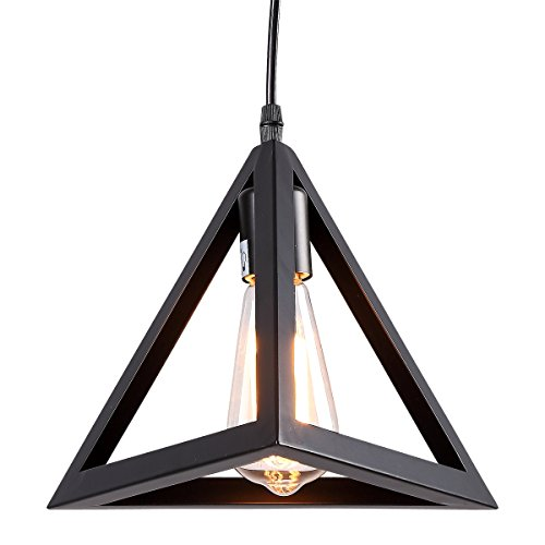 HOMIFORCE Vintage Style 1 Light Black Cone Pendant Light with Metal Shade in Matte-Black Finish-Modern Industrial Edison Style Hanging for Kitchen Island,Close to The Ceiling (Metcalf Black) (Light Fixture Cone)