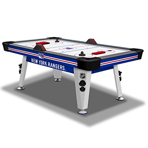 NHL Air Powered Hockey Table - New York Rangers - 84 Inch - Features Scratch Resistant Material, Automatic Scoring, and Built-In Accessory Storage -