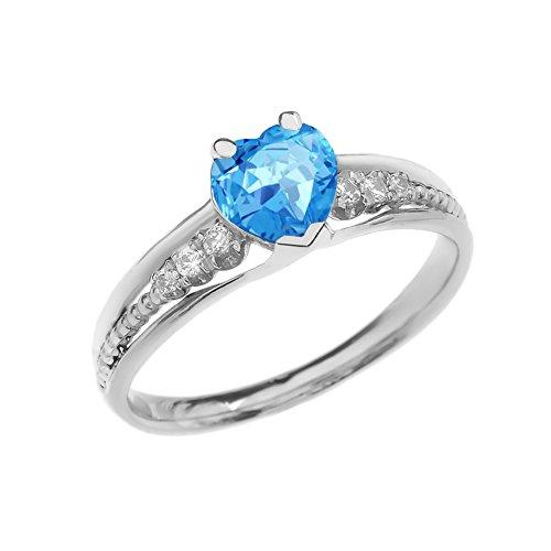 Dazzling 10k White Gold Diamond And Blue Topaz Birthstone Heart Beaded Promise Ring (Size 7)