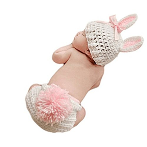 Vedory Newborn Baby Bunny Rabbit Crochet Knitted Photography Props Newborn Baby Outfits Diaper - Rabbit Crochet