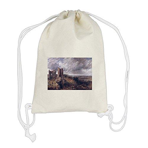 Hadleigh Castle (Constable) Cotton Canvas Backpack Drawstring Bag Sack (Hadleigh Castle)