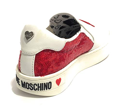 rosso Slip Ds19mo05 Donna Moschino Bianco In Scarpa Pelle Love On nTH8HAtwqx