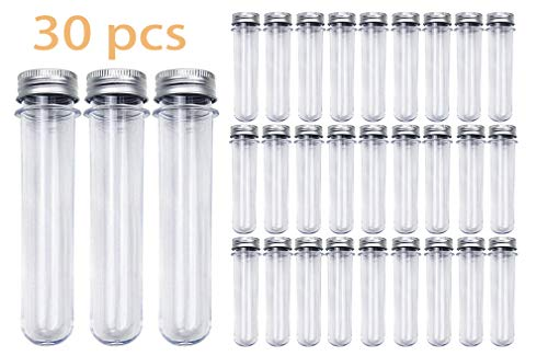 - Kissmi 30pcs 25x140mm(45ml) Clear Plastic Test Tube with Caps, for Salt Container,Bath Salts, Classroom Supplies,Storage Container