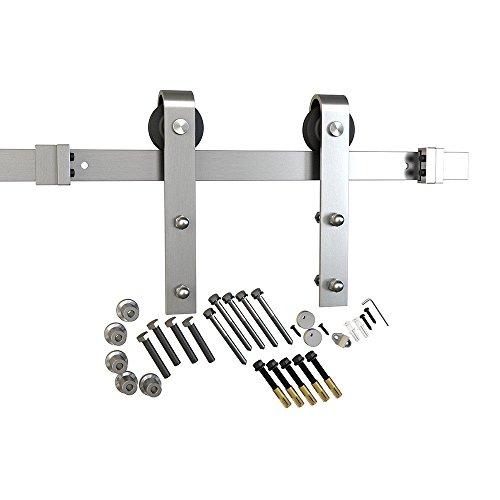 6.6ft 1 Rail Satin Nickel Brushed Steel Strap Sliding Barn Door Hardware Track Set