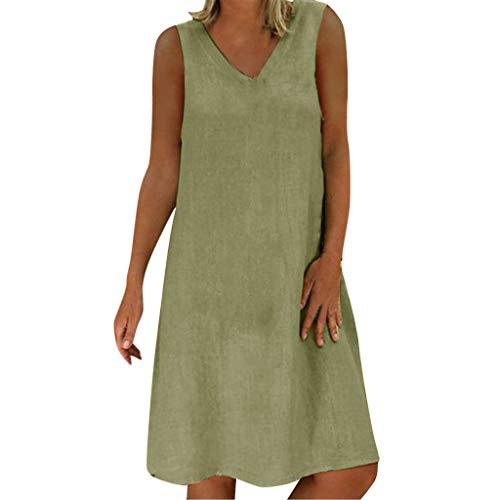 FengGa Women Sundresses Summer Style Casual T-Shirt Cotton Loose Dress Beach Cover Up Long Cami Maxi Dresses Green