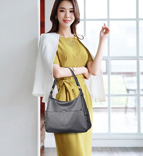 Large Handbags Yaancun Gray Capacity Wash Shoulder Bag Shoulder Bag Hobo Skin Bag Tote qdtw7rdI