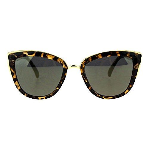 Metal Tortoise - SA106 Runway Fashion Metal Bridge Trim Oversized Cat Eye Sunglasses Tortoise Gold