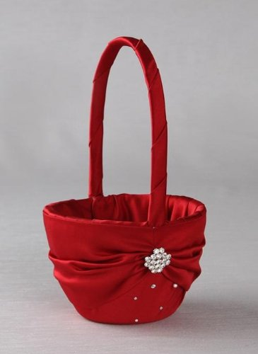 RaeBella Weddings Sparkling Celebrations Crystal Keepsake Flower Girl Basket in RED CHRISTMAS CLARET Matte Satin by RaeBella Weddings & Events New York