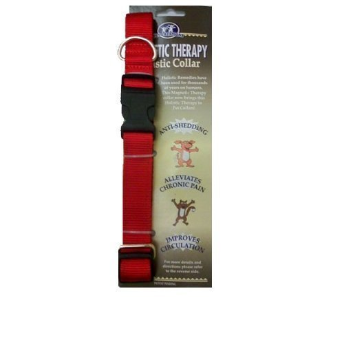 Pet Creations Magnetic Therapy Holistic Dog Collar Medium, Red (Magnetic Pet Collar)