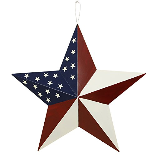 Patriotic Metal Barn Star Hanging Wall Decor 3D Dimensional Star Barn Christmas Decoration Outdoor Indoor     Review