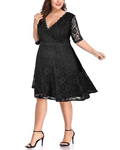 Women's Plus Size Lace Wedding Bride Bridal Party Dresses Black 18W-20W