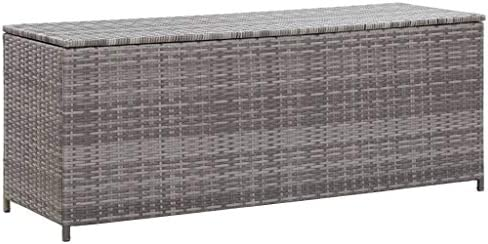 Tidyard Garten Auflagenbox Poly Rattan Gartenbox Groß Kissenbox Tischtruhe Truhe, mit Gasdruckfedern, 120×50×60 cm Grau