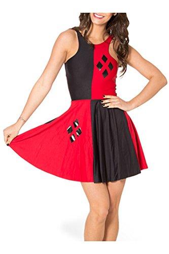 Shelen Fashion Summer Pleated Knee-length Reversible Spandex Skater Sun Dress (Riddler Dress)