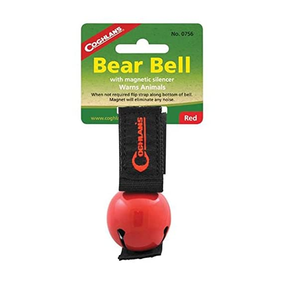 "Coghlan's RED Bear Bell Metal w/ Magnetic Silencer 1 Magnetic Bear Bell Red Bell Measures 1 1/2"" Diameter Magnetic Strap Silences Bell When Not In Use"