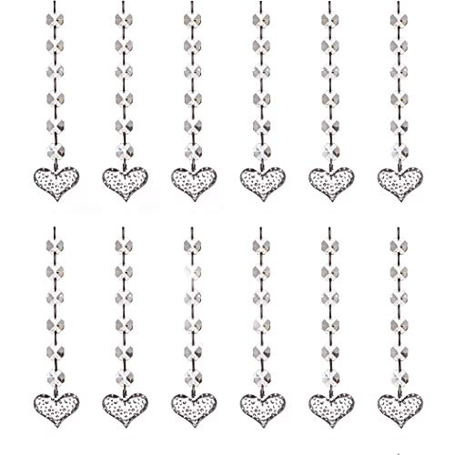 (12pcs Acrylic Crystal Diamond with Connect Rings Beaded Curtains, Bead Strands Chain Tree Garland, Chandelier Hanging Drops, Wedding Party Celebration Décor, Ceiling Light Pendants (Dots Heart))